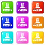 Zombie death icons set 9 color collection. Isolated on white for any design stock illustration