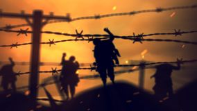 Zombie di Barbwire al ciclo di tramonto 4K stock footage