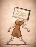 Zombie di media con lo schermo piano TV invece della testa Immagini Stock