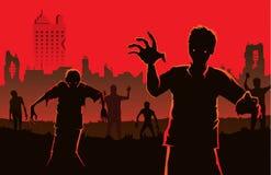 Zombie die van verlaten stad opstappen royalty-vrije illustratie