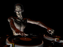 Zombie DJ 2. Zombie's in the House and mixing up some Halloween horror. Turntables with vinyl albums royalty free illustration
