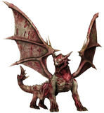 Zombie dragon. 3D render of a spooky zombie dragon vector illustration