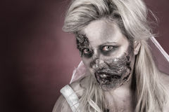 Zombie bride. Is a zombie dressed in a wedding dress stock images