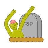 Zombie e tomba Lapide ed uomo morto Illustratio di Halloween Fotografie Stock