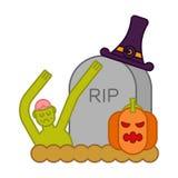 Zombie e tomba e zucca Lapide ed uomo morto Halloween Fotografia Stock Libera da Diritti