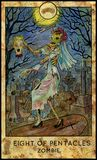 Zombie. Eight of pentacles. Fantasy Creatures Tarot full deck. Minor arcana. Hand drawn graphic illustration, engraved colorful painting with occult symbols Royalty Free Stock Image