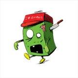 Zombie in einer Kappe lokalisiert auf Weiß Stockfotografie