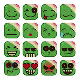 Zombie Emoticon set Stock Photos