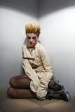 zombie för grå lokal för flicka läskig Royaltyfri Bild