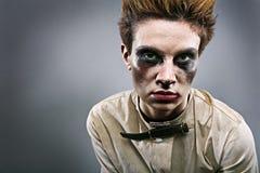 zombie för grå lokal för flicka läskig Arkivfoto