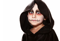 Zombie face. Boy with halloween zombie make up Royalty Free Stock Image