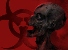 Zombie face closeup. Fantasy dead zombie face staring at the chemical danger sign on red background illustration art stock illustration