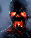 Zombie face. Skeleton zombie face with fire eyes illustration Stock Photography
