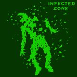 Zombie falls. Infected zone sign. Vector illustration. Royalty Free Stock Photo