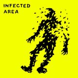 Zombie falls. Infected zone sign. Vector illustration Stock Images