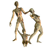 The zombie family. 3D rendering of a zombie family Stock Photography