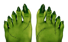 Zombie Feet. As a creepy halloween or scary symbol with textured green skin wrinkled monster toes and foot stitches isolated on a white background as a spooky Stock Photography