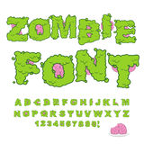 Zombie font. Scary Green letters and brain. Horrible Halloween A. Lphabet.  ABC of Walking Dead Stock Image