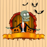 The zombie in the frame on the Halloween theme Royalty Free Stock Image