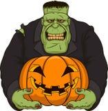 Zombie Frankenstein met pompoen vector illustratie