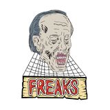 Zombie Freaks Cobwebs Drawing. Drawing sketch style illustration of zombie the evil undead head with cobwebs and wooden banner and text Freaks on isolated stock illustration
