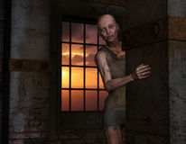 Zombie in front of a window. 3D rendering of an undead zombie in front of a window stock illustration