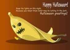 Zombie giallo della banana di Halloween immagine stock