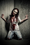 Zombie girl. A bloody and scary looking zombie girl Royalty Free Stock Image