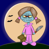 Zombie girl. Holding a teddy and a knife royalty free illustration