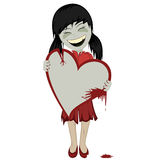 Zombie girl with a bloody heart. Lovely black haired little zombie girl with a big bloody red heart (you can place your message on it Royalty Free Stock Photography