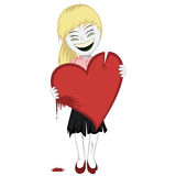 Zombie girl with a bloody heart. Lovely little zombie girl with a big bloody red heart (you can place your message on it Stock Photos
