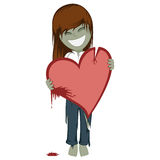 Zombie girl with a bloody heart Royalty Free Stock Photo