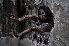 Zombie girl in haunted house Royalty Free Stock Photos