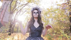 Zombie girl with mask makeup. stock video footage