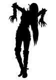 Zombie girl silhouette. Illustration woman zombie with long hairs in extreme spiked costume Royalty Free Stock Images