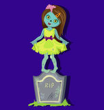 Zombie girl standing on gravestone. Royalty Free Stock Image