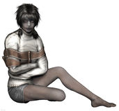 Zombie girl in a straight jacket. 3D render of a zombie girl in a straight jacket Stock Photography