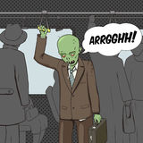 Zombie goes to work pop art vector Stock Photos