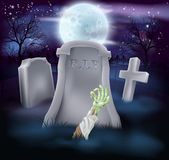 Zombie grave Halloween illustration Royalty Free Stock Photos