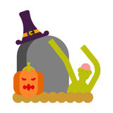 Zombie and grave and pumpkin. Gravestone and dead man. Halloween Stock Photo