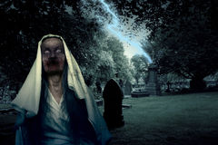 Zombie Graveyard Ghost With Lightening Royalty Free Stock Images