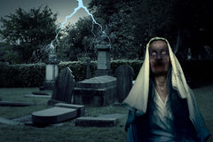 Zombie Graveyard Ghost With Lightening Stock Image