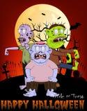 Zombie in the graveyard with Happy Halloween Cartoon Stock Photos