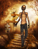 Zombie in the Graveyard. A scary zombie in a graveyard royalty free illustration