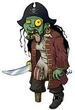 Zombie grotesque Pirate isolated. A pirate zombie in an undead semi-deteriorated state grotesque corpse stock illustration