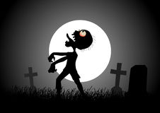 Zombie. Halloween background with zombie, tombstones and the moon on the cemetery vector illustration