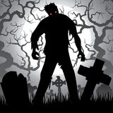 Zombie. Halloween background with zombie, tree, tombstones and the moon on the cemetery Royalty Free Stock Images