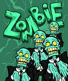 Zombie. Halloween illustration with the creepy funny cartoon zombie character and a cartoon zombie word stock illustration