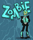 Zombie. Halloween illustration with the creepy funny cartoon zombie character and a cartoon zombie word royalty free illustration