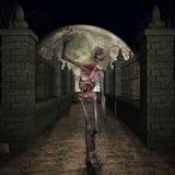 Zombie - Halloween Scene. 3 D Render of an Halloween Scene with Zombie Stock Photos